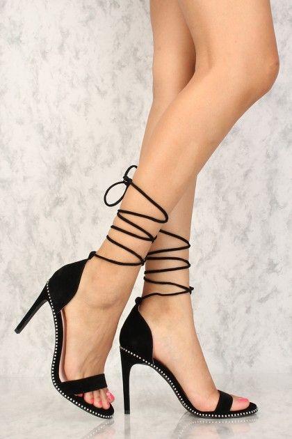 b5abeae98 Sexy Black Open Toe Leg Wrap Single Sole High Heels  AD