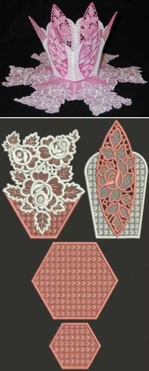 Advanced Embroidery Designs - Victorian Rose Bowl and Doily Set