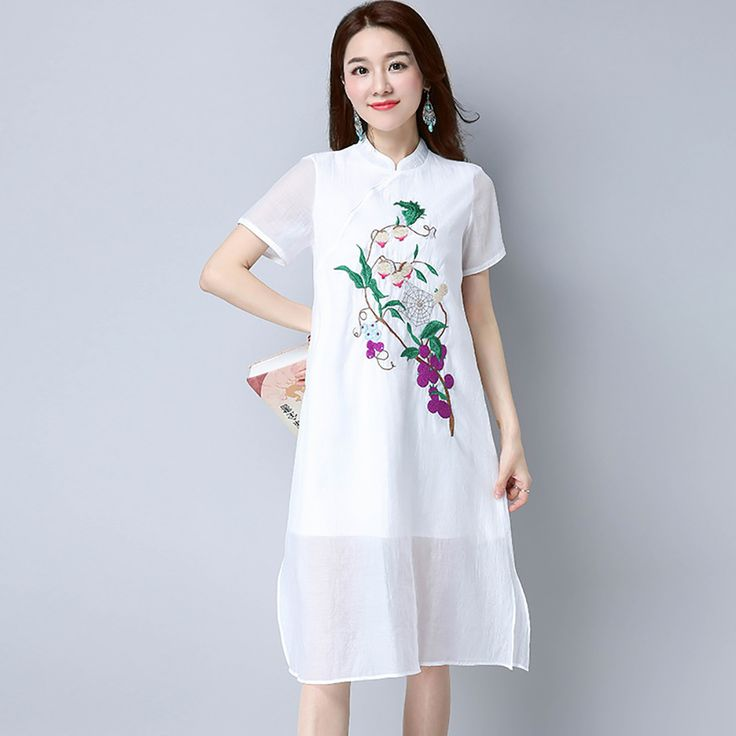 Find More Dresses Information about 2017 Summer Style Solid White Cotton Embroidery Short Sleeveless Women Dress Casual Loose Vintage Long Maxi Dresses vestidos,High Quality dress vestidos,China long maxi Suppliers, Cheap maxi dress from malenna Store on Aliexpress.com