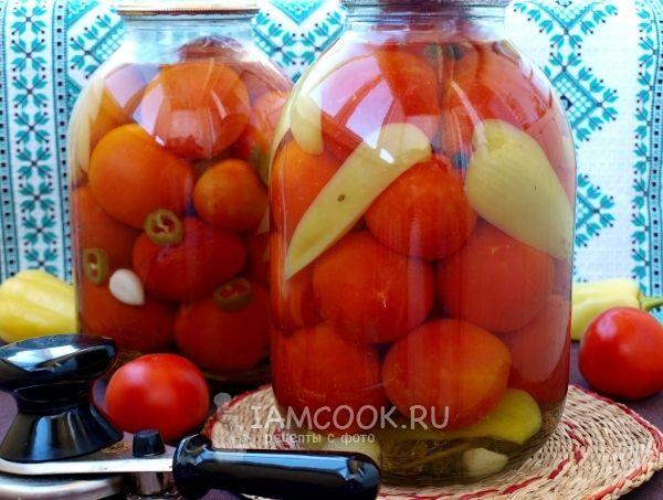 Фото помидоров, консервированных с болгарским перцем