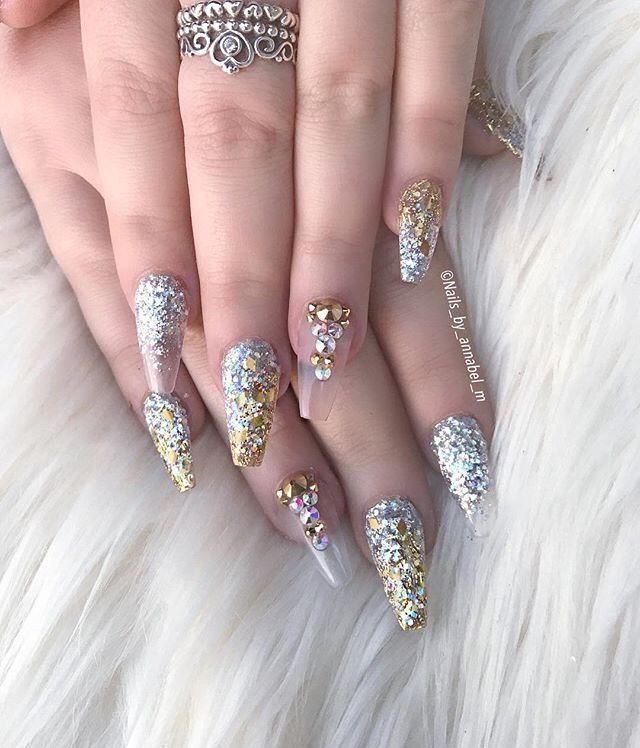 Gold and silver bling nail art