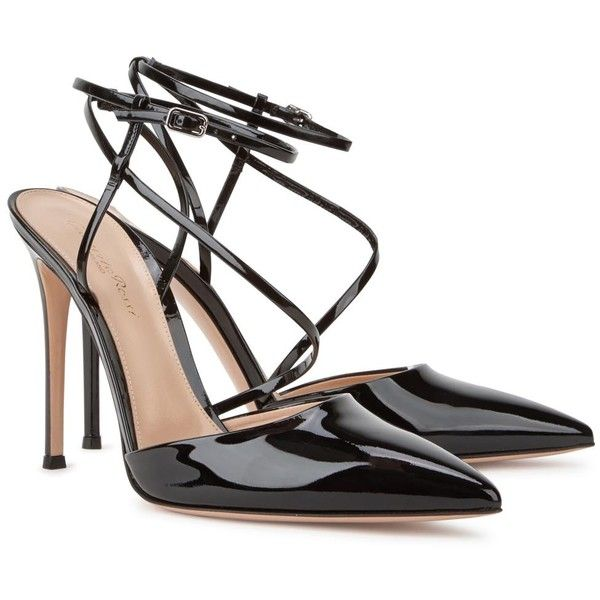 Gianvito Rossi Carlye black patent leather pumps (184.775 HUF) ❤ liked on Polyvore featuring shoes, pumps, black strappy shoes, pointed-toe pumps, black strap shoes, black pointed toe pumps and black patent leather shoes