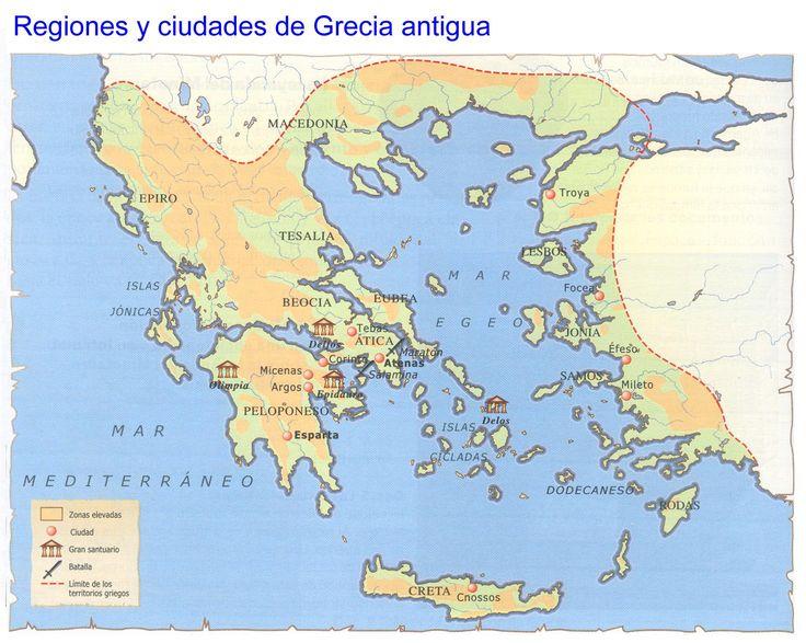 Este pin trata de : el mapa de la antigua Grecia, incluyendo las ciudades y las regiones aliadas.