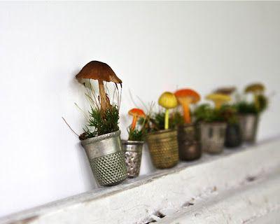Fairy garden flower pots: Smallest Gardens, Gardens Ideas, Fairies Gardens, Fairies Houses, Gnomes Gardens, Thimbl Gardens, Humble Thimbl, Refab Diaries, Gardens Fairies