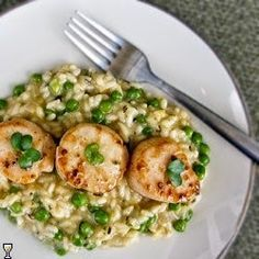 Scallops and Sweet Pea Risotto