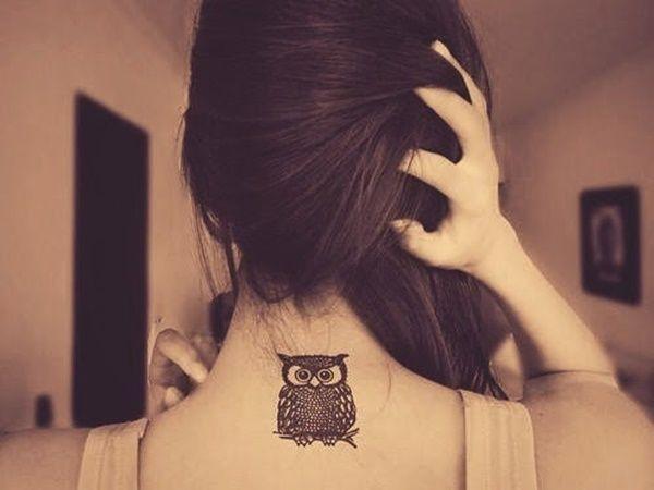 #Owl #tattoo #neck #small designs