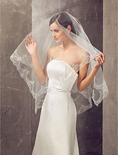 Square Shape One-tier Elbow Wedding Veil With Applique Edge – USD $ 19.99