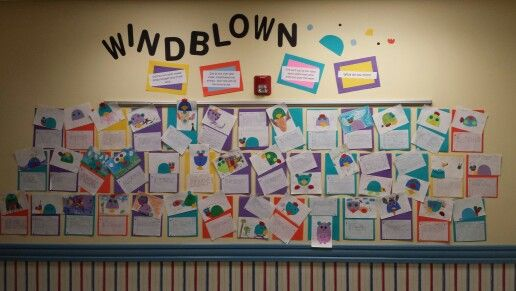 """Wall display for Windblown. .a great book to study shapes. . and to start the """"outside the box"""" thinking in the little ones"""