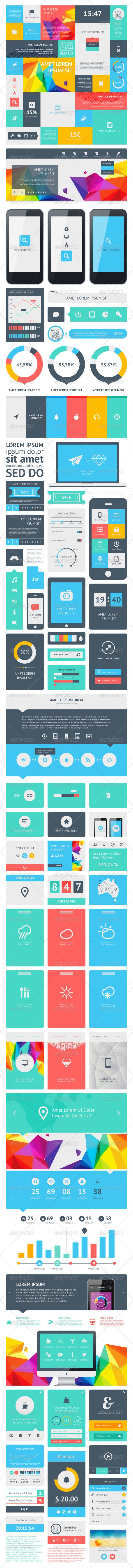 UI Set Components Featuring Flat Design - GraphicRiver Item for Sale