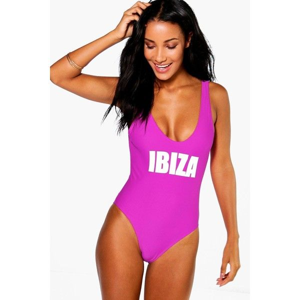 Boohoo Ibiza Scoop Neck Slogan Swimsuit ($35) ❤ liked on Polyvore featuring swimwear, bikinis, purple, high-waisted bathing suits, swimsuits bikinis, triangle bikini, purple bikini and high-waisted bikinis