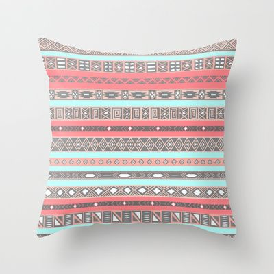 Peach Rose Baby Blue Aztec Tribal Native Pattern Throw Pillow by RexLambo - $20.00