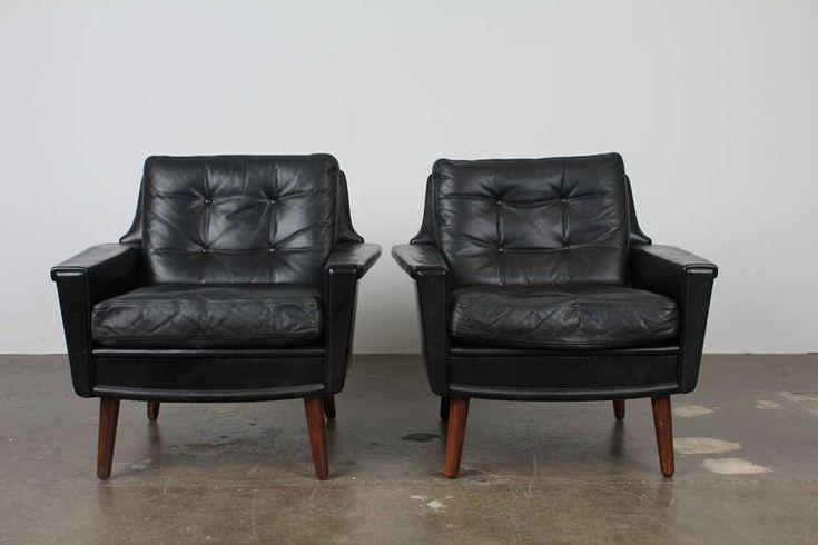 Best Black Leather Mid Century Modern Danish Lounge Chairs 400 x 300