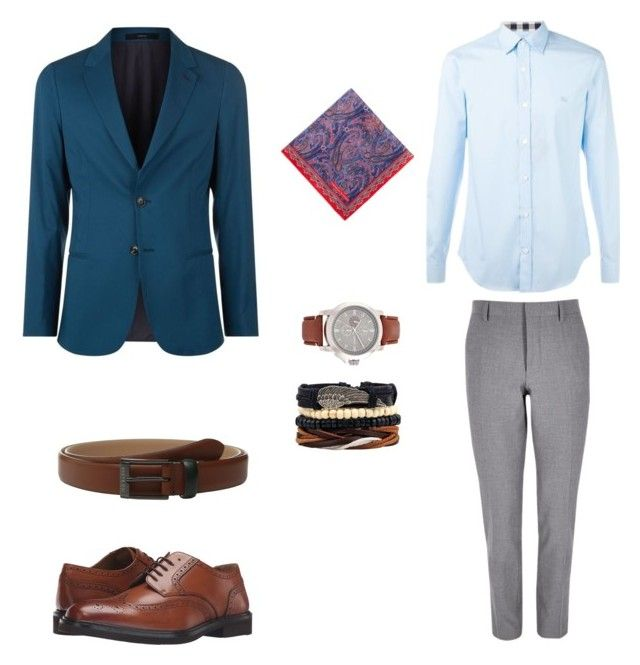 """Лук#2"" by hyzirt on Polyvore featuring River Island, Burberry, Paul Smith, Florsheim, Turnbull & Asser, Ted Baker, men's fashion и menswear"