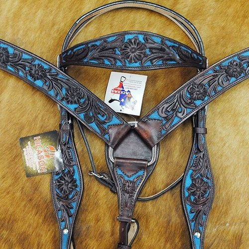 New Hilason Western Leather Horse Bridle Headstall Breast Collar Brown Turquoise | eBay | Striking color combination