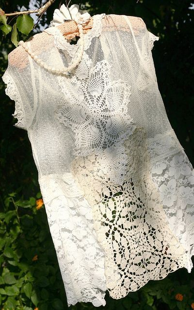 """Back of lace jacket, sealah no sew tape for the task!     """"I used the sealah taped to add each lace element on the vest and changed my little vest into a shrug!"""""""