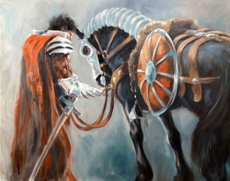 Torrin and His Black Warhorse original oil Painting by Canadian Artist Kindrie Grove by KindrieGroveStudios on Etsy