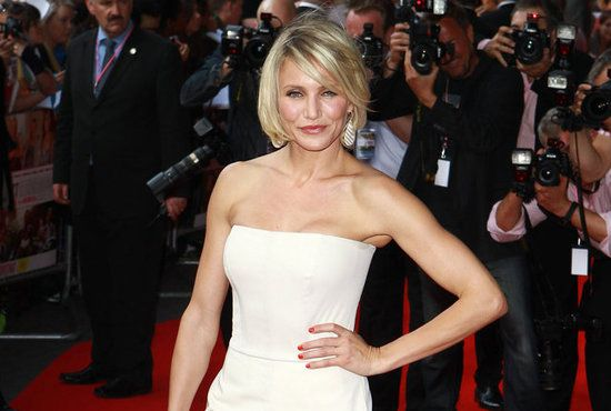 Cameron Diaz Arm Workout: tricep dips, dumbbell kickbacks, bicep curls, rotating bicep curls, hammer curls, lateral-to-front dumbbell raise, reverse fly