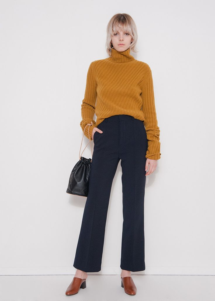 Navy Flat Front Trouser – The Frankie Shop