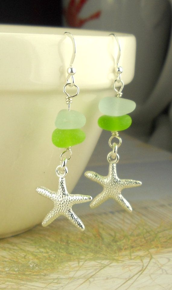 Genuine Sea Glass Earrings Stacked Green and by BoardwalkBaubles, $24.00
