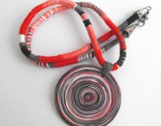 Red necklace- colier argila polimerica