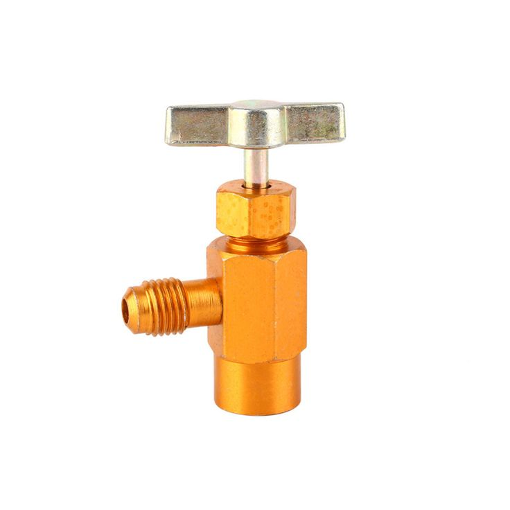 "1pcs Refrigerant Brass Can Bottle Tap Opener Valve Tool R134a Tap valve 1/2"" ACME Thread Valve 2016 New"