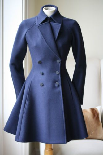 AZZEDINE-ALAIA-NAVY-SWING-COAT-JACKET