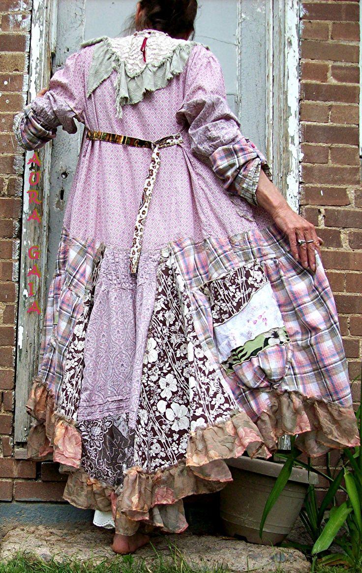 AuraGaia Rose Mallow 3pc Duster Dress, Camisole Top & Bloomer Pant Upcycled Tattered Raw Poorgirl Mori Boho Artisan S-XL