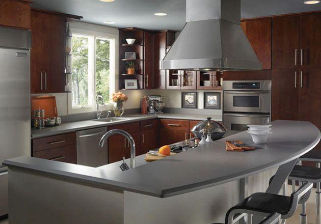 Grey Expo Silestone quartz. Has warm cupboards, light floors and ...