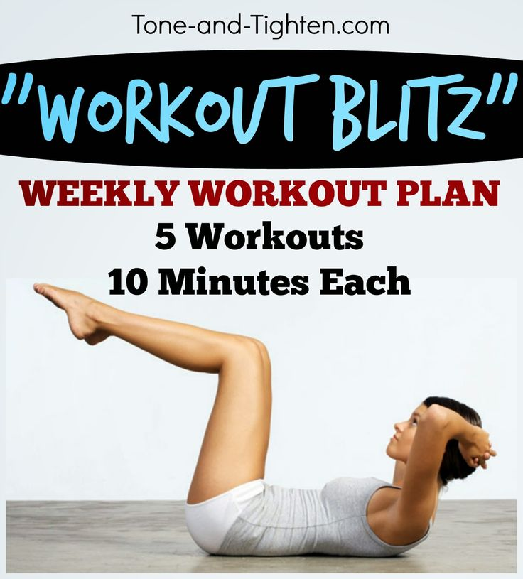 10 Minute Workout Blitz – 5 workouts of 10 minutes or less!! – Weekly Workout Plan | Tone and Tighten Workouts | Pinterest | Workout, 10 minute workout and Exe…