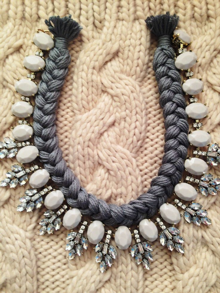 Showflake grey handmade statement necklace crystals