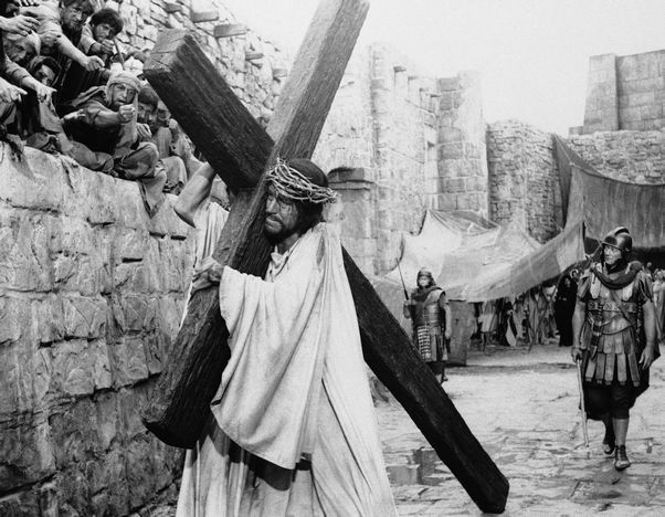 """The pitfalls of casting - and playing - Jesus:  Movie-makers have struggled for years with the casting of Jesus (Max von Sydow as Jesus and John Wayne as the converted centurion in """"The Greatest Story Ever Told."""")"""