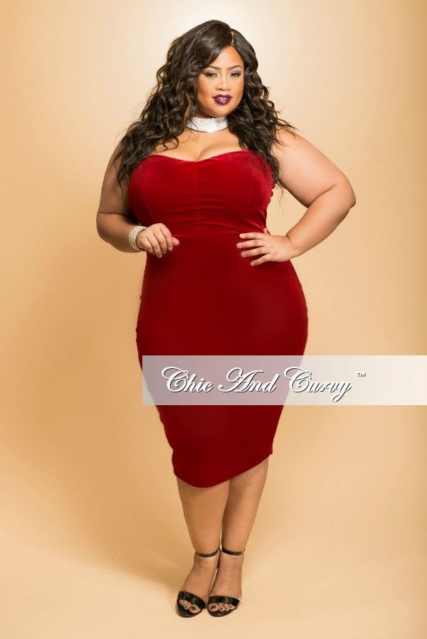 0ba6a36e67d Plus Size BodyCon Strapless Dress in Red – Chic And Curvy
