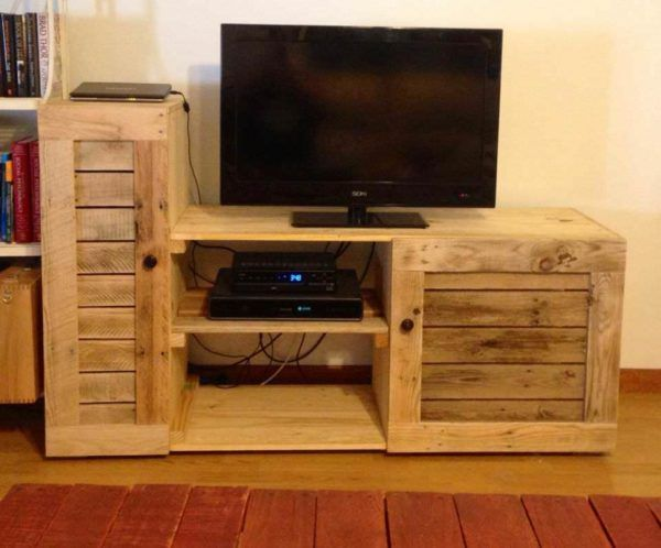 Entertainment Center Made Out Of Discarded Pallets