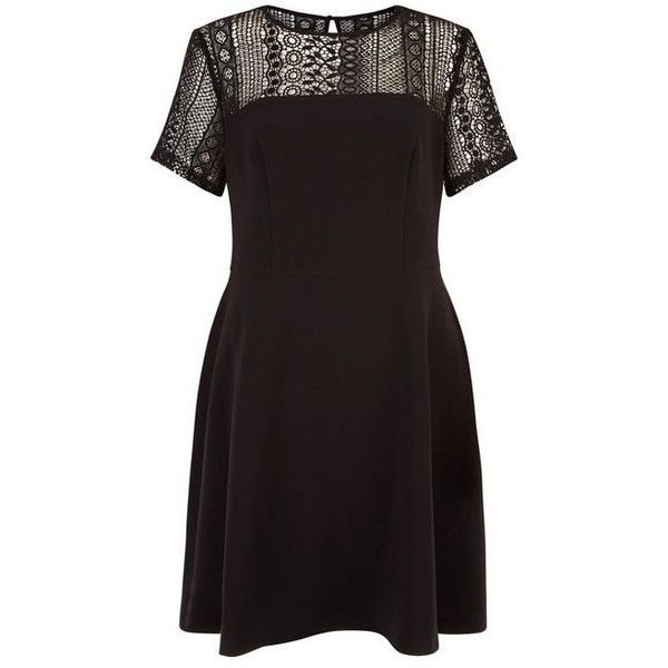 New Look Black Lace Panel Skater Dress (£12) ❤ liked on Polyvore featuring dresses, black, holiday party dresses, skater dress, lace panel dress, lace inset dress and going out dresses