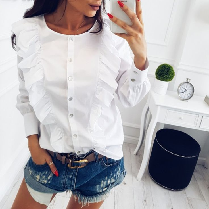 SIMIN 2018 Spring New Fashion O-Neck Ruffles Long Sleeve elegant tops striped button blouse Casual shirts