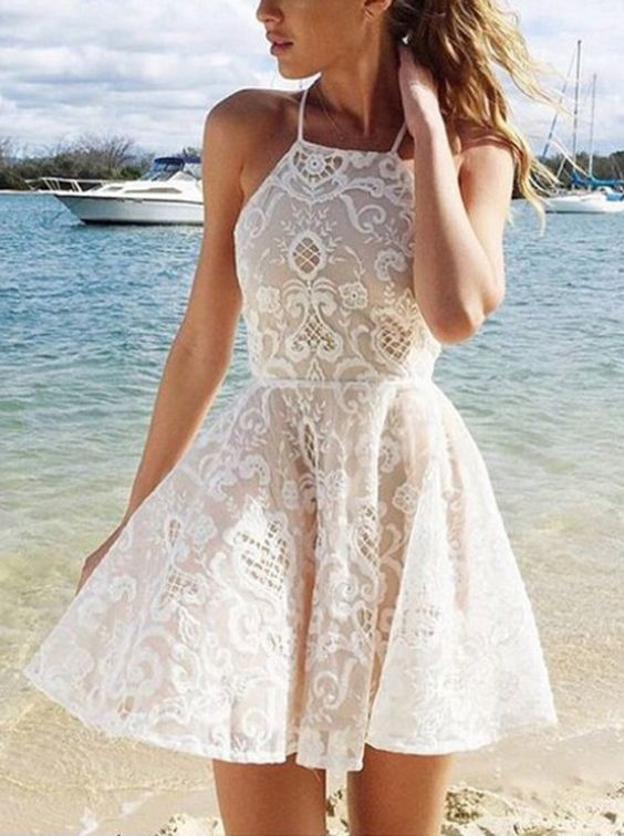 A-line Halter Short White Criss-Cross Straps Lace Homecoming Dress With Pleats,41405