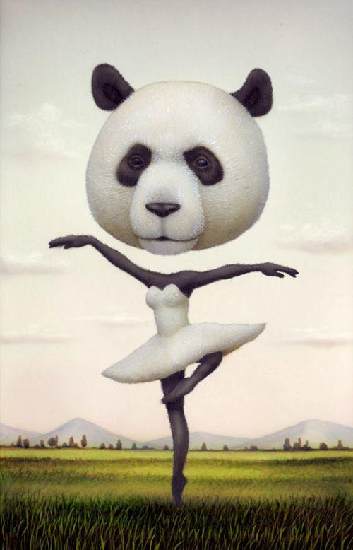 Naotohattori, Magic, Ballerinas, Animal Head, Illustration, Art, Naoto Hattori, Pandas, Pop Surrealism