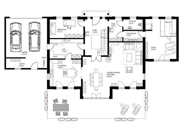 Die 25 besten ideen zu hauspl ne auf pinterest haus for Haus bauen grundriss