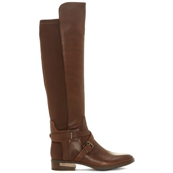 Vince Camuto Paton Tall Boot ($189) ❤ liked on Polyvore featuring shoes, boots, brown, tall brown boots, brown shoes, stretch boots, stretch shoes and tall boots