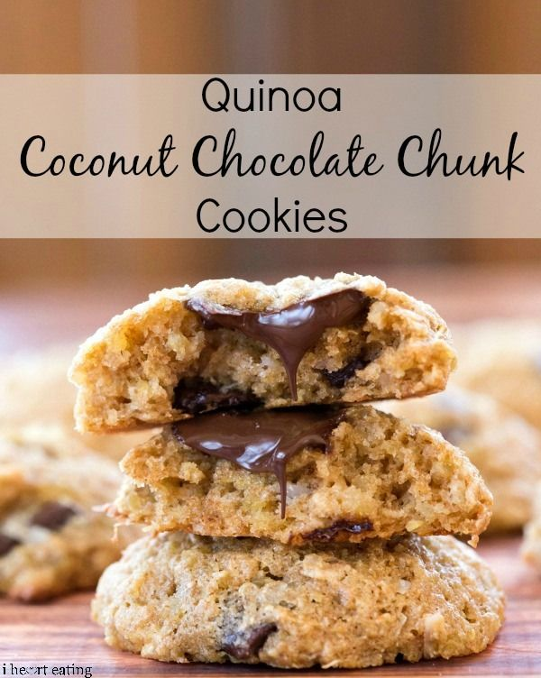 Quinoa Coconut Chocolate Chunk Cookies   http://www.ihearteating.com   #healthy #cookie #recipe