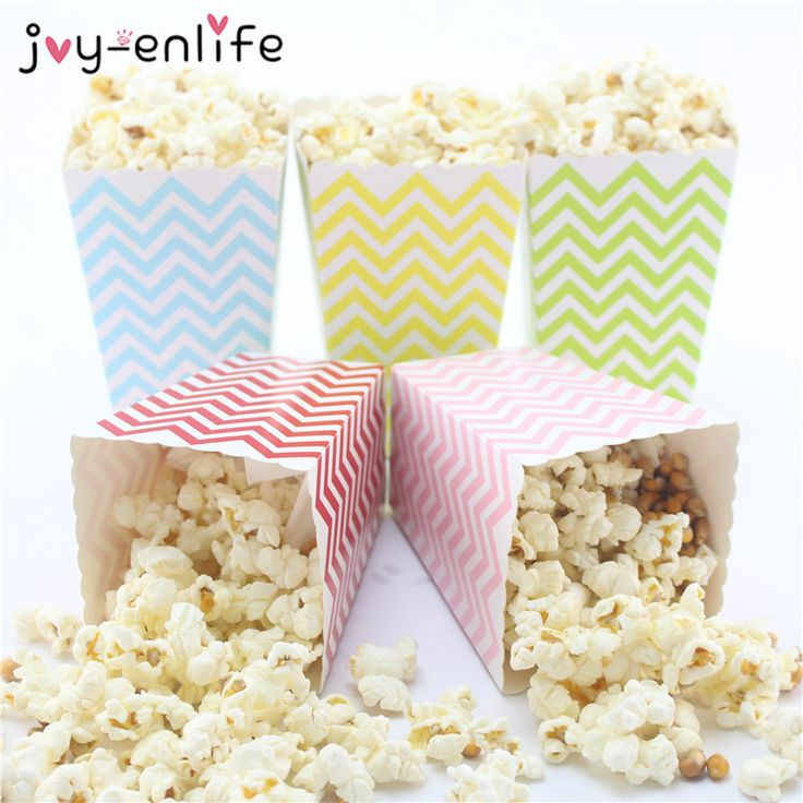 JOY-ENLIFE 12pcs Colorful Chevron Paper Popcorn Boxes Pop Corn Favor Bags for Candy Snack Wedding Decor Birthday Party Supplies #Affiliate