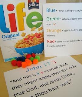 John 17:3 with LIFE cereal: Church Ideas, Evening Ideas, Family Homes, Church Stuff, Family Home Evening, Fhe Ideas, Sofia S Primary, Church Fhe, Primary Ideas