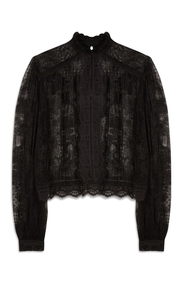Primark - Lace High Neck Long Sleeved Blouse