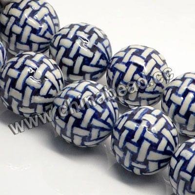 Круглые Синий и белый фарфор бисер керамические шарики для браслетов делает