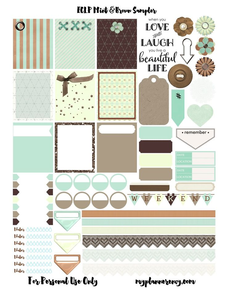 Planner & Journaling Printables ❤ Free Mint & Brown Sampler | My Planner Envy