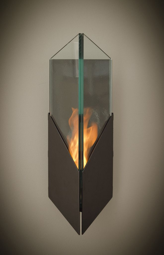 Pure (Black/Silver) Wall-Mounted Fireburner is a temptress made of tempered glass panes and solid steel   #ecofriendly #bioethanol #fireplace #wallmounted  http://www.firenflame.com/