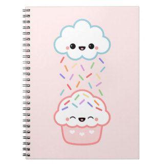 Leuke Cupcake met bestrooit Notitieboeken