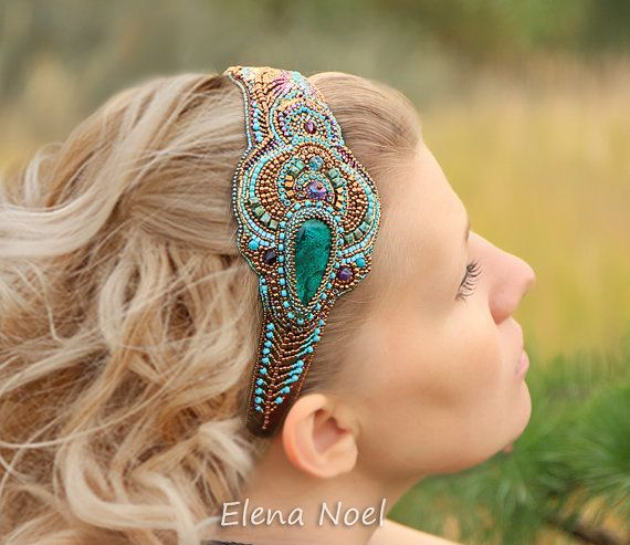 Peacock feather beaded headband with natural Naural by ElenNoel