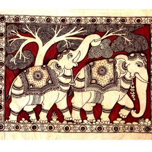 Kalamkari is an art done on fabric mainly cotton & silk using pen (kalam) and kari means craftsmanship. Kalamkari is an exquisite art of hand painted and hand printed fabric. Origin: It evolved in two villages in Andhra Pradesh Srikalahsti and Masulipatnam/Machilipatnam.
