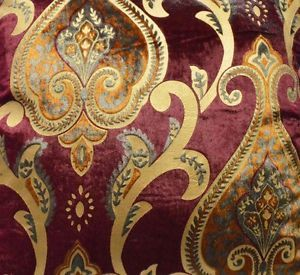 Dw13 Per Meter Gold Wine Red Damask Velvet Sofa Cushion Cover Fabric
